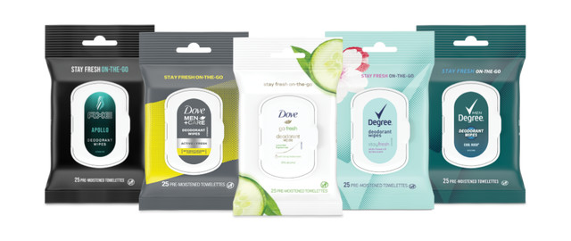Dove, Degree, or AXE Deodorant Wipes coupon
