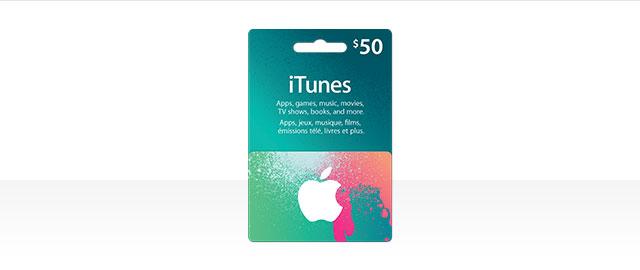 $50 iTunes card coupon