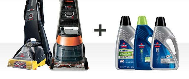 COMBO: les shampouineuses verticales Proheat de BISSELL + solutions nettoyantes de BISSELL.  coupon