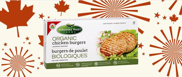 Burgers de poulet biologiques Yorkshire Valley Farms coupon