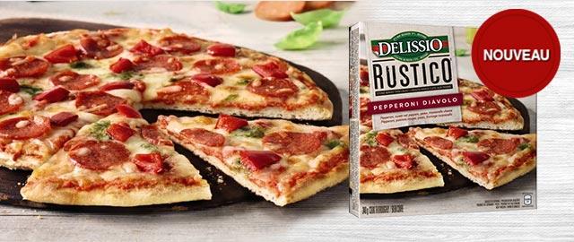 DELISSIO® RUSTICO™ Pepperoni Diavolo pizza surgelée coupon