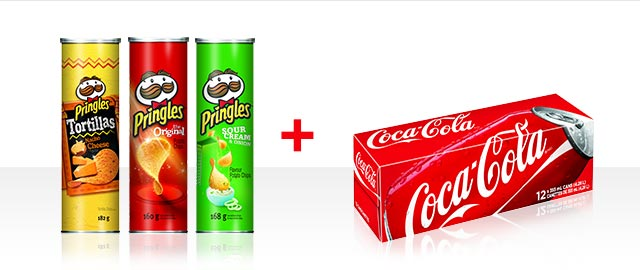 At Walmart Combo: Buy 3 Pringles + Coca-Cola 12pk products coupon