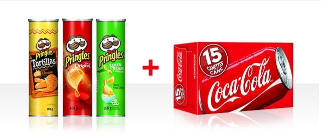 At Walmart Combo: Buy 3 Pringles + Coca-Cola 15pk products coupon