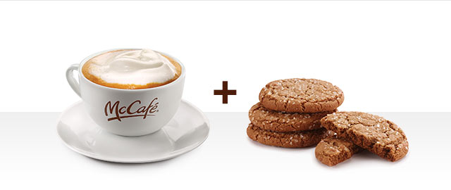 At McDonald's® in Walmart: 2 Ginger Cookies and McCafé® Latte  coupon