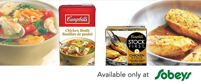 Buy Any 2 at Sobey's: Campbell's Stock First™ stocks or Campbell's® broths coupon