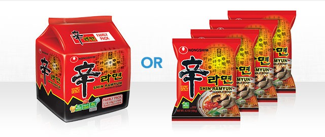 Buy 1 Family Pack or 4 Single Packs: Nongshim Noodle Soups coupon
